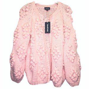 Modcloth Pink Textured Chunky Knit Cardigan Lg